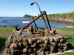 Rescued anchors at the Boat Harbour, Gerringong, NSW (roslyn.russell) Tags: cemetery coast nsw anchor pinetrees headland gerringong