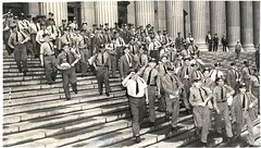 "June 15, 1936 - Postal carriers set out on their rounds from the James A. Farley post office NY City, to deliver the first round of World War 1 ""bonus army"" checks. WW1 veterans demonstrated in Washington, D.C. in 1932 for more rapid payment of their Serv (Histolines) Tags: world from city ny history june set 1932 1936 out for james 1 dc washington office war post certificate first 15 retro more round timeline service postal ww1 their rapid farley veterans deliver checks payment payments rounds carriers vinatage demonstrated a bonusarmy historyporn histolines 1024581 httpifttt1rzmxuf"