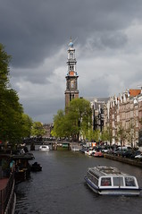 Westerkerk, Amsterdam (Tim Dawson) Tags: amsterdam boat canal westerkerk 2014