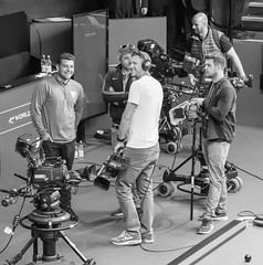 CAMERA OPERATORS, CRUCIBLE THEATRE, SNOOKER WORLD CHAMPIONSHIP_DSC_8161_LR.2.0 (Roger Perriss) Tags: camera people game television studio blackwhite tv team waiting technology theatre interior sheffield tripod wheels noflash broadcasting d750 casual snooker recording auditorium worldchampionship technicians cameramen crucible withoutflash tvcamera outsidebroadcast casualclothes snookertable mountedcamera iso2500 syorkshire