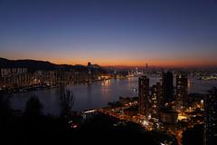 Burning~ (edward.cheung) Tags: blue sunset sea orange hongkong sony   magichour victoriaharbor  yautong  a6000 devilpeak