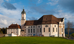Pilgrimage Church of Wies (Igor Sorokin) Tags: travel sunset church architecture clouds germany bavaria nikon europe scenic 1855 nikkor dslr wies steingaden pilgrimagechurch d40x