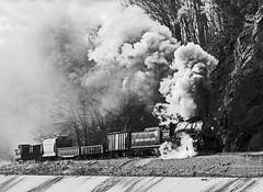 WMSR.CumberlandNarrowsMF040216.1732bwcontrastV2 (jrm_rr) Tags: md maryland steam locomotive freight cumberland narrows steamengine wmsr plume 280 wmsr734 photocharter