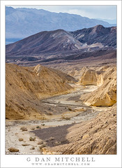 Desert Wash and Mountains (G Dan Mitchell) Tags: california light usa mountains nature america landscape golden evening haze north wash national layers deathvalley parkdesert