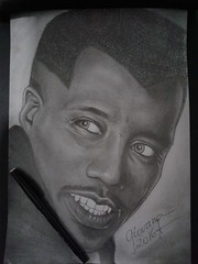 Blade - Wesley Snipes (Giovana Draw/ ) Tags: portrait white black art illustration pencil grey wesley blade draw graphite desenho grafite snipes realista