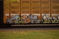 ACER (TheGraffitiHunters) Tags: auto street pink blue white black green art car yellow train graffiti colorful paint purple tracks spray rack acer carrier freight autorack benched benching