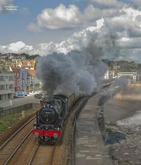 46100- Dawlish (70C Photography) Tags: uk england canon coast seaside outdoor south trains steam devon 7d april british 1785mm railways midland dawlish 2016 royalscot 46100 jamescummins iconsofsteam greatbritainxi