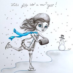 January (Enchanted Fields) Tags: snowflake winter snow ice snowman originalart january prismacolor wonderland graphite iceskater enchanted linedrawing whimsical iceskate inkart coldoutside icedancer
