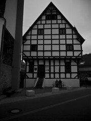 Abteihof St Marien (martin_rees) Tags: blackandwhite architecture germany marien halftimbered mosel rheinlandpfalz fachwerk truss timberframe kobern gondorf sanct abteihof