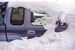 Snow Blanket (pixelgrey) Tags: snow storm window car mirror buried pickup powder blanket peek parked melt clearing latch snowed