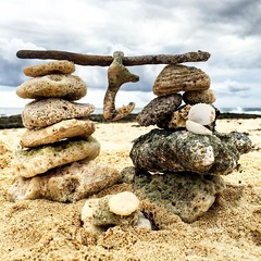Cozumel Beach Cairn (Eric Bertram) Tags: beach coral square mexico island sand gulf shell squareformat cozumel deserted cairn iphoneography instagramapp