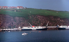 Sealink ferry AVALON at Fishguard c1977 (Keith Halton) Tags: ferry ship shipping avalon fishguard