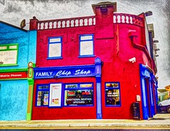 Anyone for chips? (JulieK (having another mid-life crisis)) Tags: ireland red irish food colour window wall advertising bright cork takeaway chipshop hss macroom hww iphone5 sliderssunday painterlyapp
