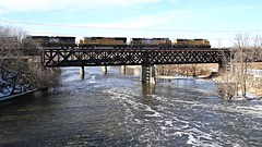 Crossing the Rock River (Laurence's Pictures) Tags: railroad bridge chicago water rock electric wisconsin train river pacific general muscle union rail railway line northwestern janesville