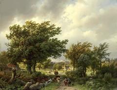 Barend Cornelis Koekkoek - The Hermitage Museum -6218.  Road among Trees (1854) (lack of imagination) Tags: trees houses people animals landscape blog hermitagemuseum 15002000 barendcorneliskoekkoek