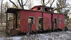 Reynoldsburg, Ohio (3 of 8) (Bob McGilvray Jr.) Tags: wood railroad ohio red abandoned rotting train wooden tracks caboose cupola oh bo abused trashed reynoldsburg baltimoreohio c2208