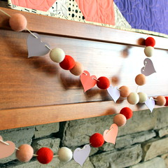 Felt Ball Garland (Modern Quilting by B) Tags: love wall big long quilt arm machine balls felt garland valentine cotton solids quilting hanging kona