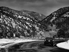 Snowing On Hyde Park Road (Mabry Campbell) Tags: winter blackandwhite usa snow mountains cold newmexico santafe monochrome car landscape photography countryside photo december photographer image unitedstatesofamerica hasselblad photograph toyota 4runner snowing 100 f71 fineartphotography 80mm 2015 commercialphotography santafecounty hc80 sec mabrycampbell h5d50c 20151224campbellb0000238 december242015