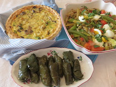 CHEZ SIMONE. Riz Provenal. Provencal Rice and Quiche. (Traveling with Simone) Tags: food leaves dinner lunch mushrooms cuisine stuffed rice eggplant indoor meal olives eggs aubergine zucchini cooked fried boiled grape greenpepper poivron baked quiche torte champignons repas provencal spiced oignons courge sauted