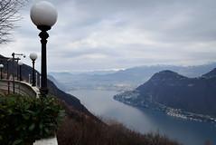 Lugano (Francesco dP) Tags: street city blue sky italy mountain lake green lamp landscape lago lights switzerland foggy down svizzera azzurro lugano fondo paesaggio colline lampione luminarie balcone burrone nuvoloso lanzo cialo affacciato affacciare