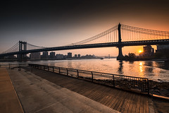 Brooklyn Sunrise (DHaug) Tags: nyc newyorkcity morning newyork brooklyn sunrise waterfront bridges september explore manhattanbridge eastriver getty fujifilm williamsburgbridge gettyimages 2015 empirefultonferrystatepark explored xt1 xf1024mmf4rois
