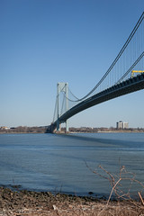 Verrazano-Narrows Bridge (Erin Cadigan Photography) Tags: auto road city nyc newyorkcity bridge newyork tower vertical architecture brooklyn river outdoors bay harbor daylight traffic suspension steel bluesky cable double structure deck transportation transit toll vehicle mta borough daytime hudson statenisland span narrows roadway verrazano verrazanonarrows fortwadsworth