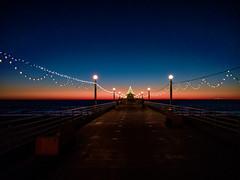 Manhattan Pier (Evan Tchelepi) Tags: ocean xmas blue sunset red sky color night lights pier warf 1920 losangles 2015 digitalphone lumia950