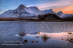 Loyal Gloaming (Shuggie!!) Tags: winter snow mountains ice reflections landscape scotland highlands williams shoreline hills karl grasses sutherland hdr gloaming zenfolio karlwilliams