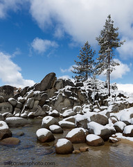 Pine Trees and Boulders, Sand Harbor, NV (4 Corners Photo) Tags: sky snow color tree water weather rock pine clouds rural landscape us spring scenery unitedstates nevada laketahoe boulder vegetation northamerica sierranevada sandharbor laketahoenevadastatepark laketahoebasinmanagementunit newwashoecity 4cornersphoto