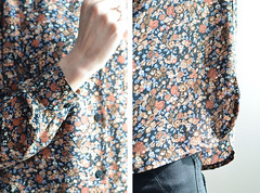 Black, Brown and Blue Floral Blouse (imaginary animal) Tags: floral sewing blouse vintagepattern slowfashion handmadewardrobe