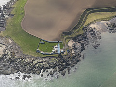 Scurdie Ness lighthouse in Montrose, Angus in Scotland 2009 (RCAHMS) Tags: sea lighthouse tower nature water landscape coast scotland angus aerial stevenson montrose hes 2009 1870 aerialphotograph thomasstevenson scurdieness davidstevenson rcahms historicenvironmentscotland dp063998