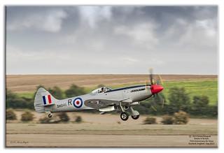 Spitfire FR Mk XVIIIe SM845 roars into a stormy sky