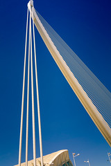 Suspension (Tiigra) Tags: city travel bridge valencia yellow spain rope es lattice valncia 2015 comunidadvalenciana