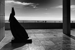"""The Cardinal"" (helmet13) Tags: california bw sculpture usa silhouette backlight losangeles raw downtownla aoi thegettycenter 100faves peaceaward giacomomanz seatedcardinal heartaward world100f d800e"