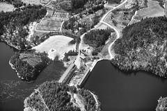 Paugan Dam (Eunice Gibb) Tags: blackandwhite bw river dam low aerialview aerial barrage aerialphotography hydroelectric hydroelectricplant denholm hydroelectricdam gatineauriver paugandam barragepaugan quebecaerial aerialgatineauriver aerialpaugandam