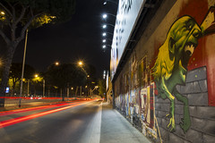 Roma - Cristoforo Colombo (1) (Yksel85) Tags: street light red urban streetart roma art night graffiti graphics nikon metro ghost banksy bynight murales affreschi fantasma luce colombo lazio citt ghostbuster bansky scia cristoforocolombo tormarancia lungheesposizioni