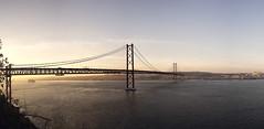 Leaving Lisbon (parkerbernd) Tags: travel bridge cruise light sunset panorama portugal skyline port river leaving lumix fantastic lisboa lisbon ponte panasonic 25 april lissabon tejo liner gx1