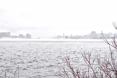 Horizon in the rain (beyondhue) Tags: ontario rain weather river spring cityscape quebec ottawa foggy parliament canadian gatineau beyondhue