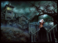 Welcome Home (alexandra wardark) Tags: house mist scary darkness gothic haunted sl fantasy secondlife colordefaultcolorsromanticvoguedenoiseorton