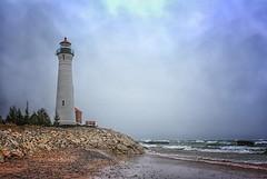 Crisp Point LIght (Notkalvin) Tags: light lighthouse lake beach water clouds sand waves outdoor michigan overcast shore upperpeninsula lakesuperior navigation crisppoint mikekline notkalvin notkalvinphotography