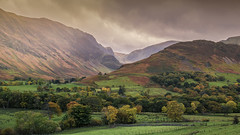 Newlands Valley (chasingthe_stars) Tags: autumn trees sky sun mountains nature beautiful clouds canon landscape countryside warm lakedistrict hills valley fells colourful autumnal circularpolarizer newlandsvalley beautyinnature leefilters canon6d