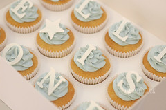 Ollie (Cake O'Clock) Tags: blue baby classic vintage star cupcakes cupcake font toppers serif cakeoclock