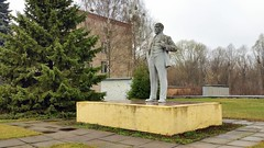 Lenin statue in the Chernobyl village, Ukraine (sirgunho) Tags: city trip lenin plant abandoned water statue town pond tour village power ghost union nuclear ukraine disaster soviet waste incident radar reactor fallout cooling chernobyl sovjet ukranian oekraine chornobyl unie prypiat tsjernobyl kopachi tsjernobiel zalissya leliv