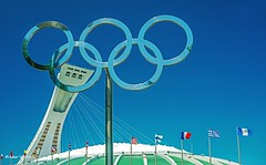 Five Rings under Blue Sky    (Thank you, my friends, Adam!) Tags: canada art lens photography nikon gallery photographer stadium five montreal fine rings telephoto excellent olympic dslr        flickrsbest