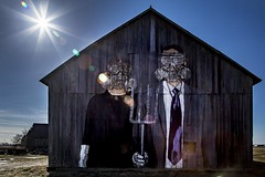 Gothic (Notkalvin) Tags: barn rural mural outdoor pitchfork intothesun americangothic gasmasks mikekline hygienicdressleague notkalvin notkalvinphotography