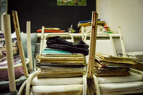 Spare scripts backstage at the Mayakovsky Theater