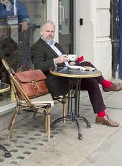 (@JPG_maker) Tags: red coffee caf socks table outside al cafe tea oxford satchel briefcase fresco nero brogues xford
