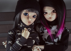 New Sweater-Crew (la manie) Tags: pink hair skull cross sewing gothic emo goth scene bjd celine msd mnf shushu minifee