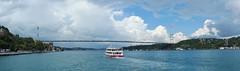 Panorama Bosphorus river in Istanbul (Turkey) (petikova) Tags: city bridge blue sky turkey river ship istanbul bosphorus