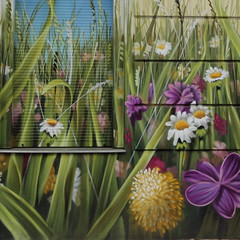 Ewigblher (honiigsonne) Tags: flowers urban house flower berlin floral berg wall graffiti colorful wiese haus blumen gras blume bunt prenzlauer hauswand wandmalerei blumenwiese alternativ